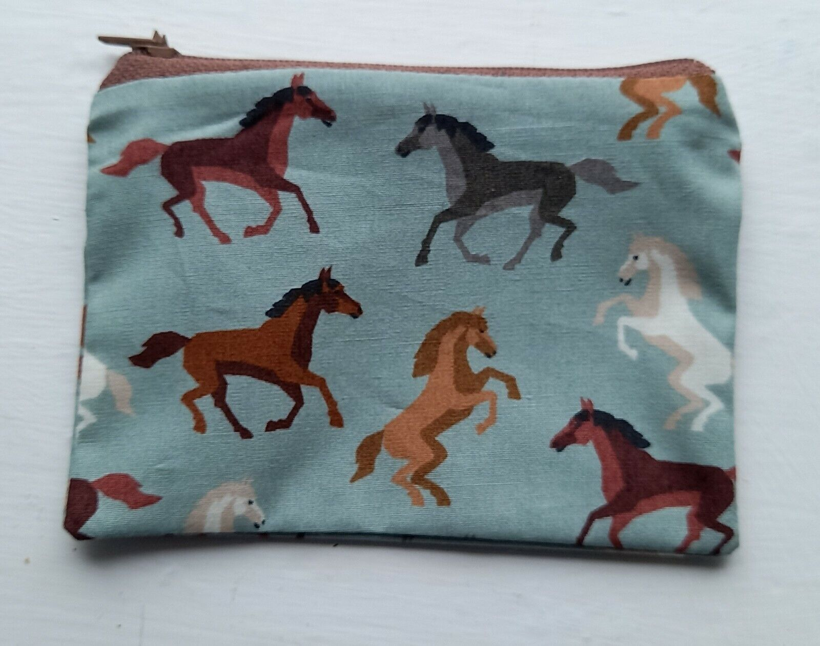 Handmade Zippy Cotton Coin Purse - wild HORSES on green - approx 13cmx9cm