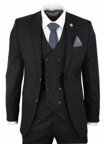 Costume noir homme 3 pièces style Gatsby Peaky Blinders rayures fines ajusté