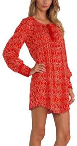 170552-New-Free-People-Printed-Lace-Long-Sleeve-Red-Tunic-Dress-Medium-M