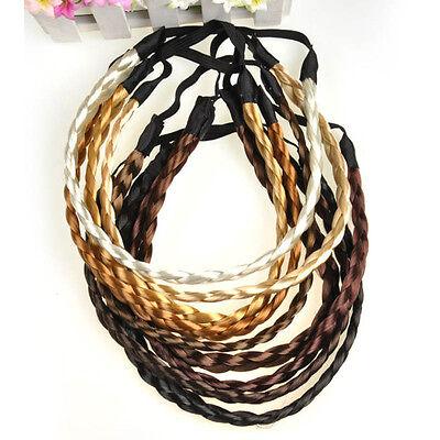 Women Girl Elastic Plaited Boho Style Hair Hoop Braided Headband Hairband New