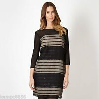 New Principles by Ben de Lisi Black & Nude Mesh Sequin Dress Sz UK 8