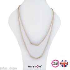 NEW Layered Gold Straight Triangle Bar Necklace Chain Pendant Ladies Womens UK