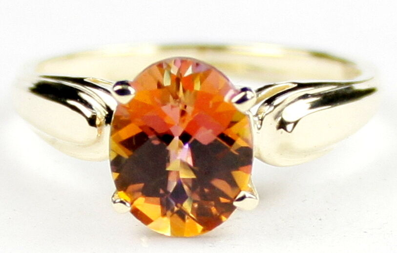 Twilight Fire Topaz, Solid 10KY or 14KY gold Ladies Ring, R058-Handmade