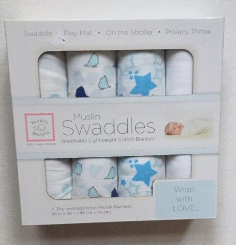 Blue Muslin Swaddle by Swaddle Designs Pack of 4 Baby Gift BNIB
