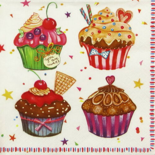 Decoupage for Party Cupcakes 4x Paper Napkins