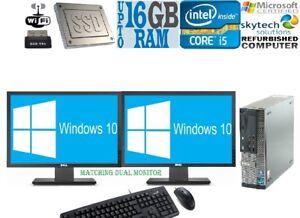 FAST-FULL-SET-DELL-790-i5-DT-DESKTOP-PC-Dual-Monitor-Tower-COMPUTER-16GB-2TB-SSD