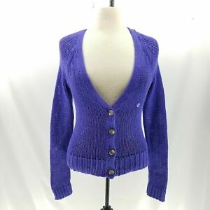 American-Eagle-Women-M-Cardigan-Sweater-Chunky-Cable-Knit-Button-L-S
