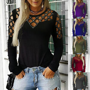 UK-Women-Cut-Out-Diamond-Long-Sleeve-Tops-T-Shirt-Ladies-O-Neck-Blouse-Pullover