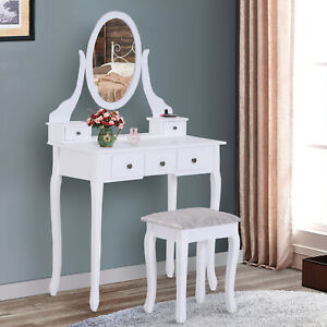 Contemporary Vanity Dressing Table Set Wooden w/ Mirror Stool 5 Drawers