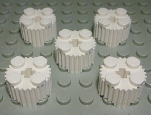 2145 Lego Stein 2x2 rund geriffelt Weiss 5 Stück