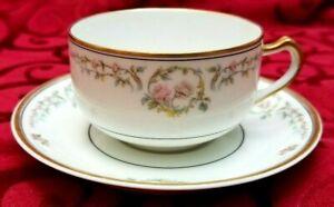 ANTIQUE-LIMOGES-HAVILAND-amp-Co-FRANCE-CUP-AND-SAUCERS-PINK-ROSES-GOLD-TRIM-1876