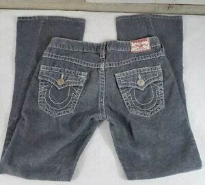 True-Religion-Joey-Big-T-Corduroy-Jeans-Sz-28-Gray-Twisted-Flare-Low-Rise