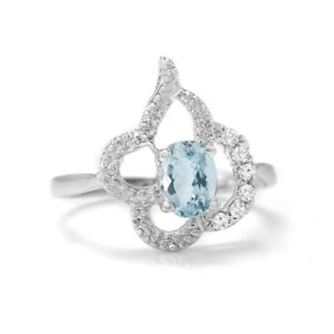 Sterling-Silver-Blue-Aquamarine-Ring-Natural-Oval-Gemstone-Size-4-11