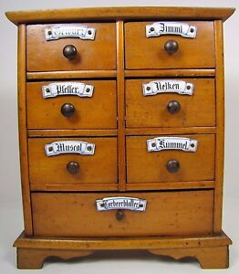 Image Is Loading Antique Spice Cabinet  Seven Dovetail Drawers Porcelain Nameplates