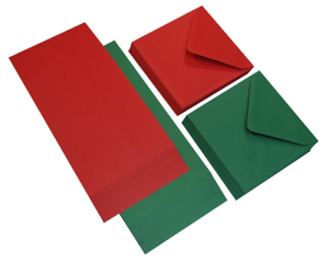40x 12.7cm x Rosse e Verdi Misto Quadrato Vuoto Carte Buste Natale Craft 520