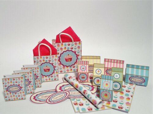 Kit de printie de Casa de Muñecas #1 Copa Pastel Miniatura cajas y signos de tienda-taller de panadería dulces