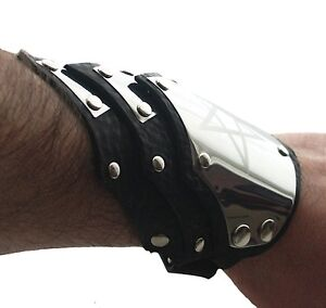Personalized-engraved-symbol-leather-cuff-bracelet-wristband-Gothic-Steampunk