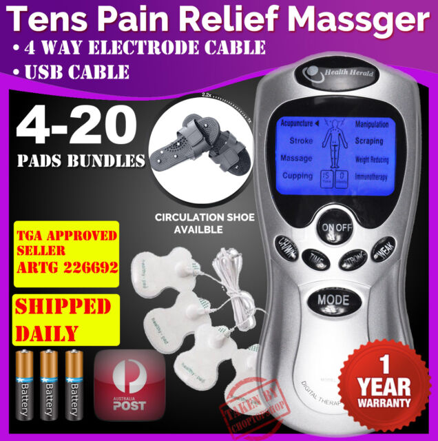 TENS Machine Unit Pain Relief Massager ACUPUNCTURE +Extra PADS BUNDLES+1YR WRTY