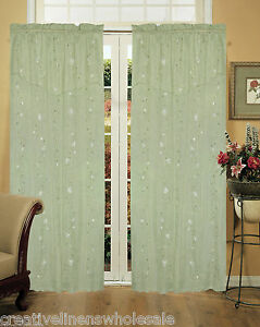 Daisy embroidery window curtain panel 2 pieces mint green creative