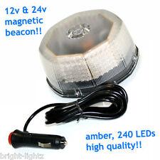 12v-24v SUPERBRIGHT 10W LED BEACON FLASHING LIGHT BAR AMBER MAGNETIC RECOVERY UK
