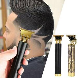 Hair-Clipper-Cordless-Trimmer-USB-Rechargeable-T-Blade-0-0mm-Zero-Gapped-Gold