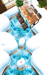 3D Pétalos De Nieve Papel De Parojo Lago 945 Piso Impresión De Parojo Murales Wallpaper AJ Reino Unido Limón