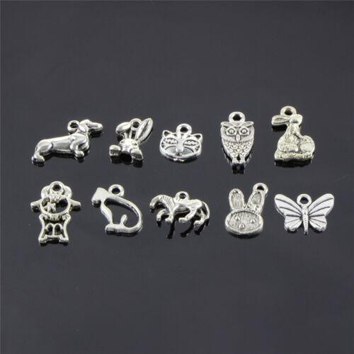 Retro Silver 100pcs Bulk Lots Mix Animal Charm Pendants Jewelry DIY Hot Sale new
