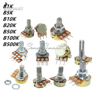 1//2//5PCS B100K OHM 15MM Shaft 3 Pins WH148 Rotary Potentiometer with Cap