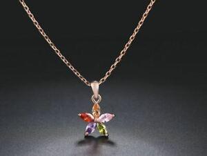collier femme fleur rose