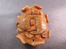 Camel Bone Carved Turtles Bead Pendant 1pc