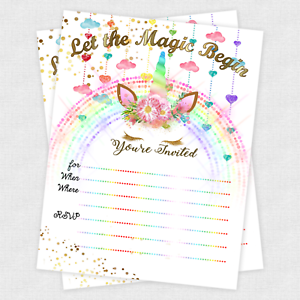 Unicorn Invitations Girl Birthday Slumber Party Girls Decoration