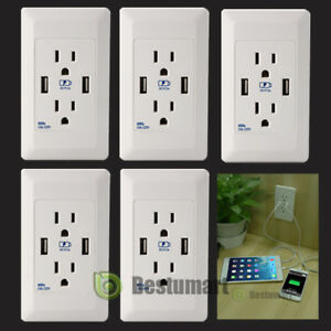 8PK Dual USB Port Wall Socket Charger AC Power Receptacle Outlet Plate Panel 15A