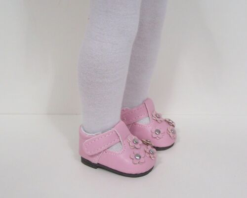 PINK School T-Strap w//Flowers Doll Shoes For 14 AG Wellie Wisher Wishers Debs