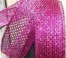 "5 Yds Christmas Fushia Magenta Pink Purple Metallic Mesh Light Wired Ribbon 2""W"
