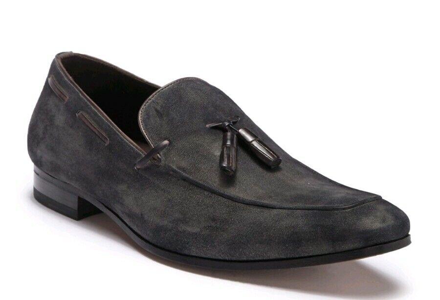 NEW Mezlan Mens 11.5 Grey Burnished Suede Tassel Slip On Loafer Dress shoes  325