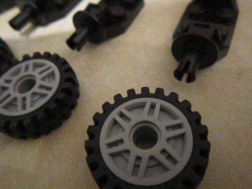 4 Suspension link Axle Bricks Lego 8 x Grey Spoked 18mm Wheels with Tyres