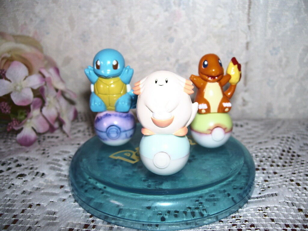 Vintage 1997 Pokemon Figures Stamp Set Squirtle Charmander Clefairy with case