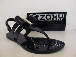 Zaxy-Glaze-Sandal-Bow-Black-Ladies-Flat-Vegan-Jelly-Summer-Toe-Post-Shoe