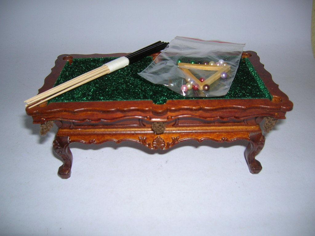 Creal Table de de de Billard Arbre Noix avec Boules et File Maison Poupée 1:12 Art d00072