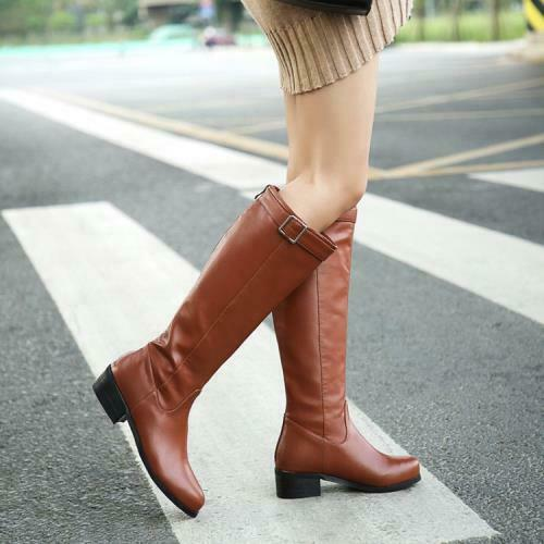 Details about  /New Womens Ladies Thigh High Boots Back Zipper Casual Low Heel Knee High Shoes D
