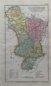 1808 Derbyshire originale antico colorato a mano Contea di carta 212 anni