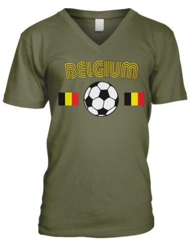 Belgium Flag Belgisch Voetbalelftal Soccer Ball Football Mens V-neck T-shirt