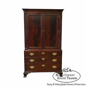 Image Is Loading Stickley Colonial Williamsburg Collection Large  Mahogany Chippendale TV