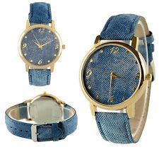 Armbanduhr BLUE JEANS Damen UHR Jeanslook Denim blau gold Quarz Sport Mädchen