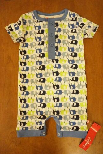 ZUTANO Size 6 M Month One Piece Romper Body Suit Enzos Elephant Henley NEW Blue