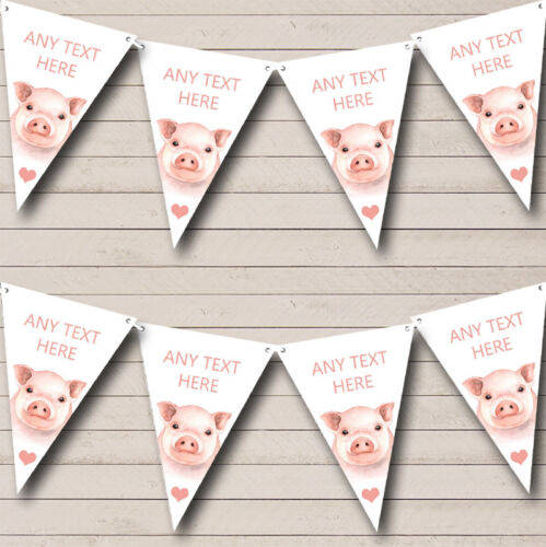 Cute Watercolour Pigs Personalised Baby Shower Bunting Party Banner
