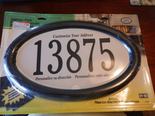 """Hy-Ko Address Plate Black Oval 15.25/"""" x 9.5/"""" with  Self-Adhesive 4/"""" Numbers"""