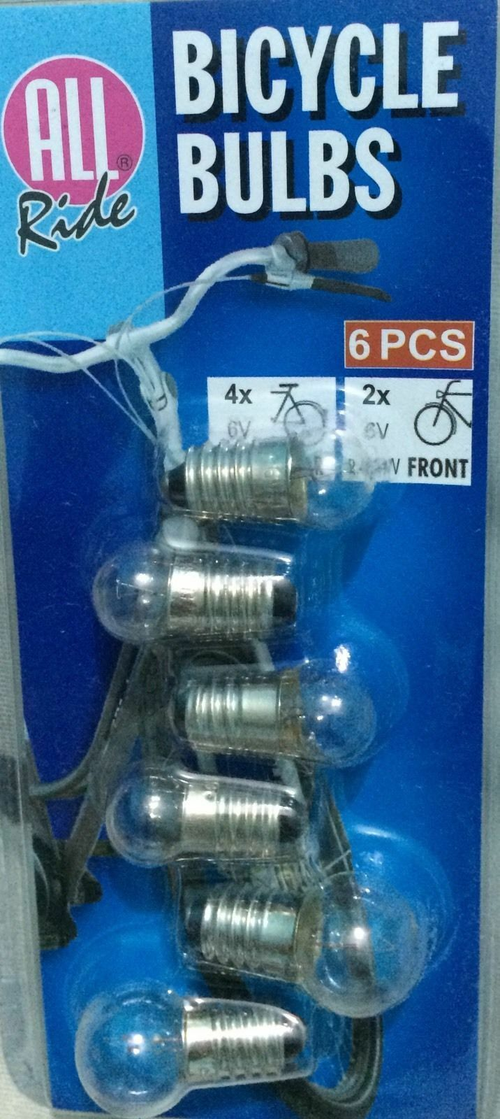 BICYCLE CYCLE DYNAMO HEAD REPLACEMENT BULB 4x Rear 6V 0.6W +2x Front 6V 2.4W NEW