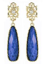 NWT Amrita Singh Real Housewives Tino Island Gold Lapis Resin Earrings ERC 3027