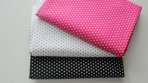 weiß Baumwollstoff 3 x  50 x  150 Sternchen in pink schwarz